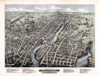 Pawtucket and Central Falls 1877 Bird's Eye View 24x31, Pawtucket and Central Falls 1877 Bird's Eye View